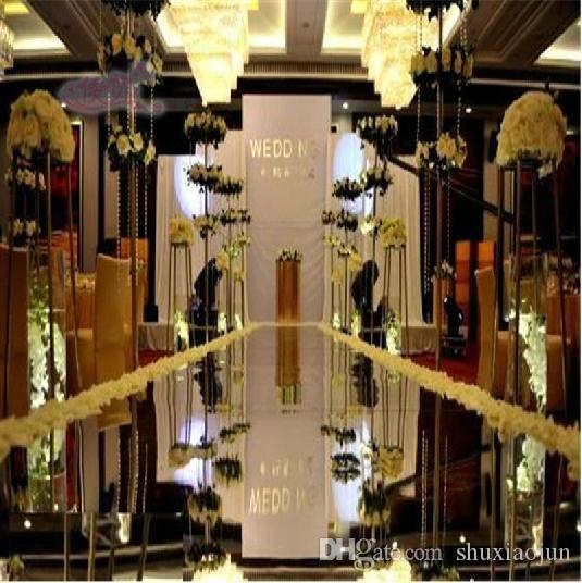 Centros de boda Espejo Mirror Alfombra Aisle Runner Silver 1.2m / 1m Design T Decoración de la Estación Decoración Favores de boda Alfombras 2015 Venta caliente