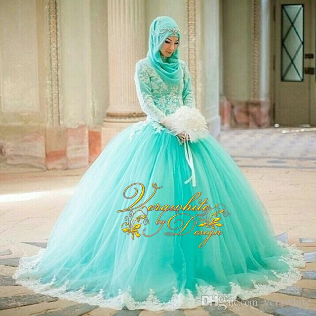 Gorgeous Ball Gown Wedding Dresses 2016 High Neck Mint Green Tulle Long Sleeves Ivory Appliques Covered Button Back Court-Train Bridal Gowns