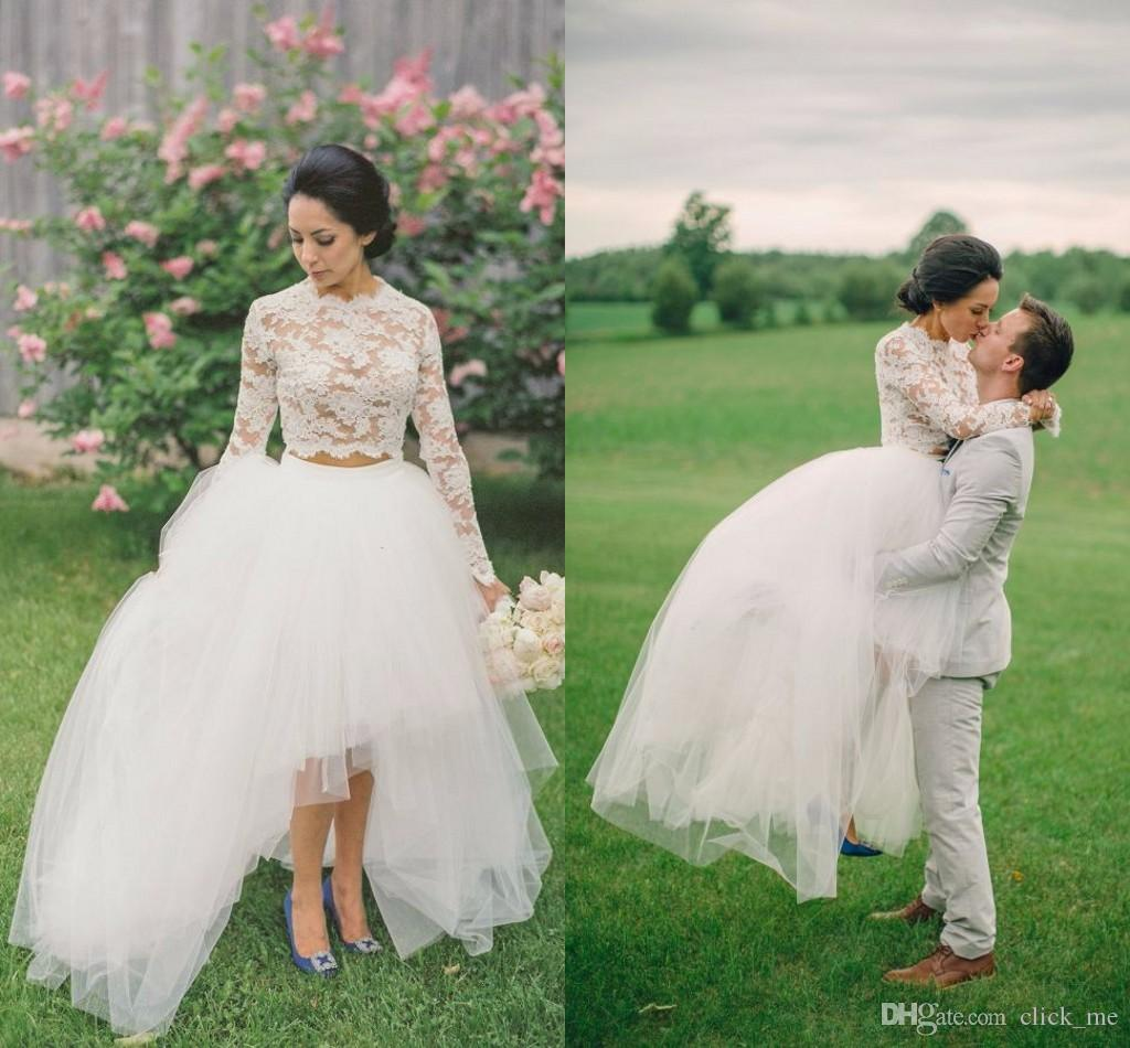 Discount High Low Lace Wedding Dresses High Neck Jewel Long Sleeves Bridal Dresses Tulle Layers Illusion Two Pieces Dresses Wedding Guest Dress Cheap