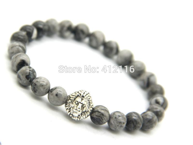 2015 New Design Jewelry Wholesale 10pcs/lot 8mm Grey Veined Picture Jasper Stone Lion Head Bracelets Mens Bracelets