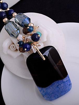 black*blue square crystal pendant (7.5*3.5cm) gold chain women's necklace (woniu152)