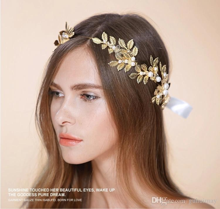 Wedding Party Bridal Prom Gold Leaves Tiara Slide Fascinator Hair Comb Pins