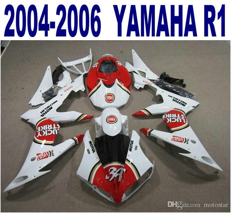 Set di carene 100% per stampaggio a iniezione di alta qualità per YAMAHA 2004 2005 2006 YZF R1 carenatura LUCKY STRIKE bianca rossa 04-06 yzf-r1 PQ91