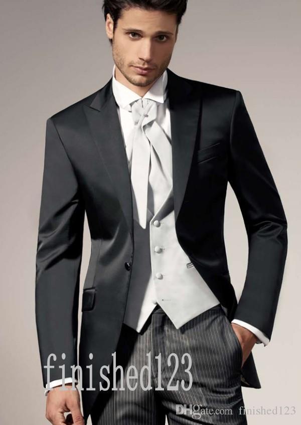 New Arrivals One Button Black Groom Tuxedos Peak Lapel Groomsmen Best Man Wedding Prom Dinner Suits (Jacket+Pants+Vest+Tie) G5002