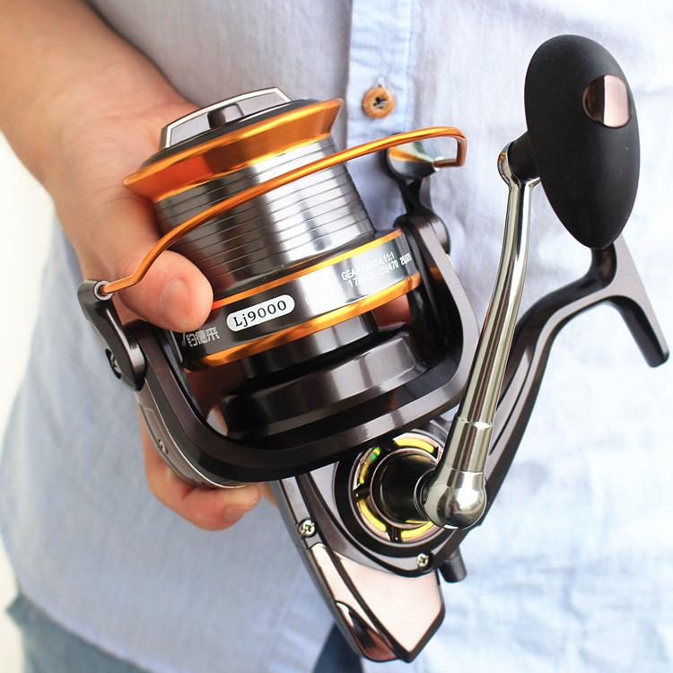 Spinning Reel Fishing Roller Rod Long Shot Salt Water Sea Black Metal Spool Carp