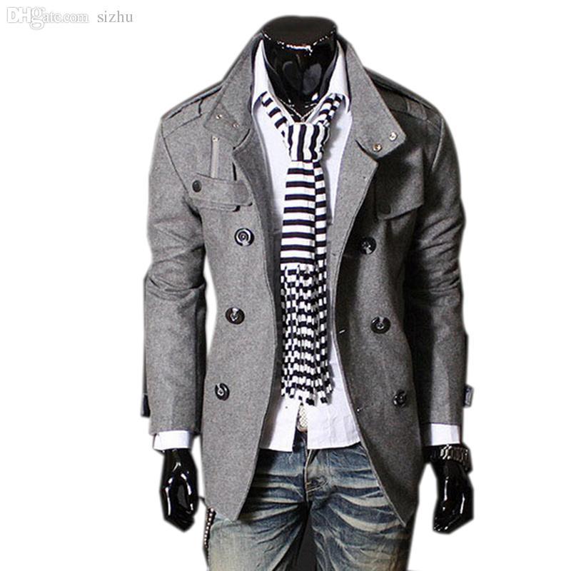 Otoño-Nueva marca de invierno para hombre Chaquetas Abrigos Abrigo Moda Hombre de doble botonadura Elegante Peacoat Hombres de alta calidad Trench Coat largo