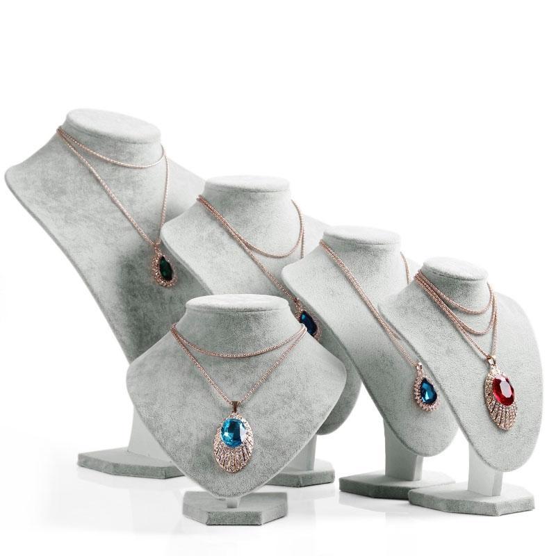 Gray Velvet Neck Shelf Modelli Collana Pendente Manichino Busto Espositore per gioielli