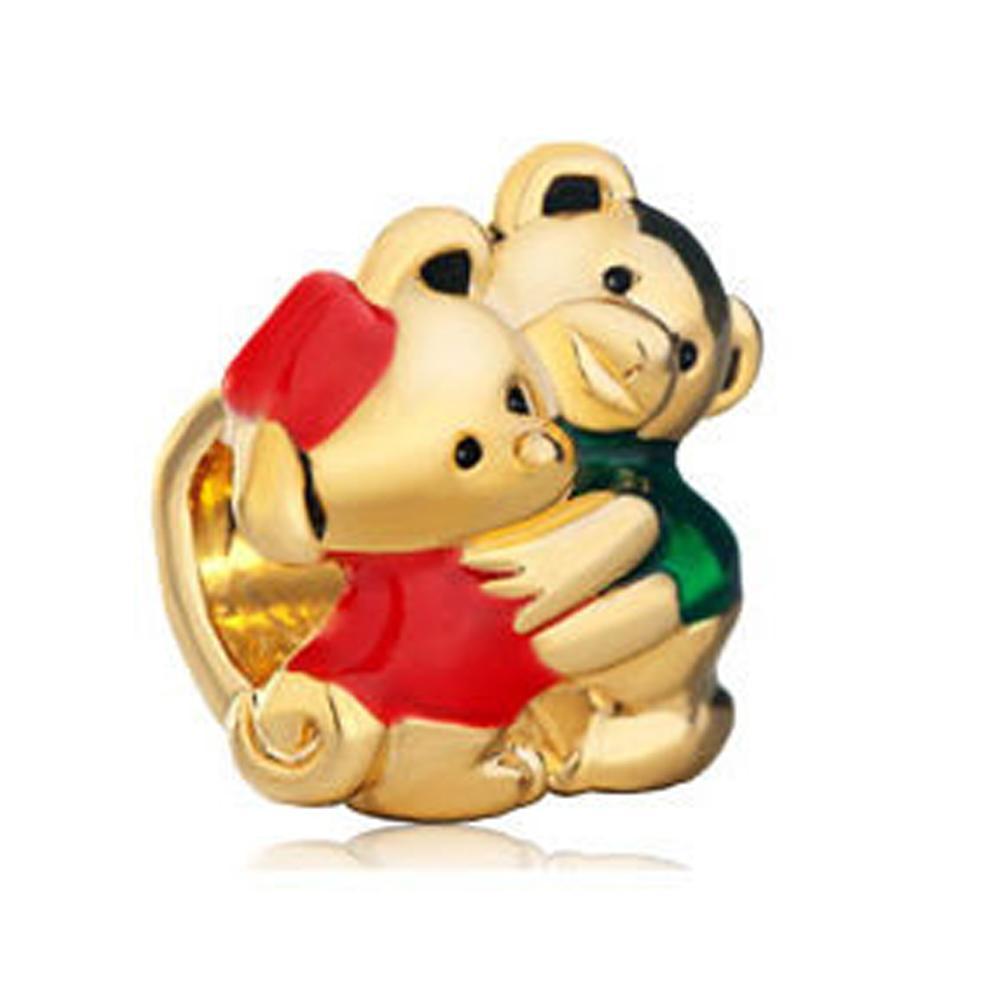 Родий серебряный цвет и золотое покрытие эмаль муж и жена медведь шарик Шарм Fit Pandora браслет