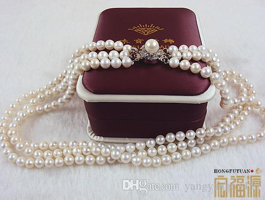 Hot sell Ms. 3 rows 6-7mm natural pearl necklace perfect circle HFY-061