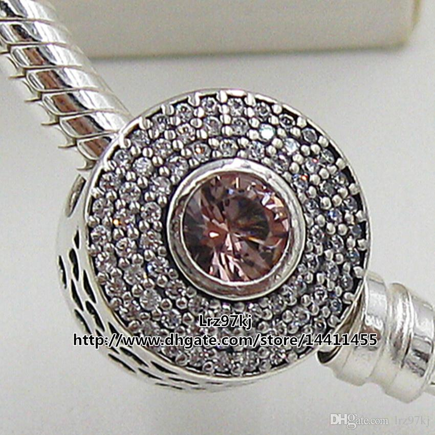 2015 Autumn New 925 Sterling Silver Radiant Splendor Charm Bead with Pink Crystal & Cz Fits European Pandora Jewelry Bracelets & Necklace