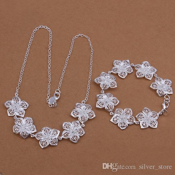 عالية الجودة 925 الفضة الاسترليني قلادة زهرة سوار قطعة مجموعات المجوهرات DFMSS452 العلامة التجارية مصنع جديد للبيع المباشر الزفاف 925