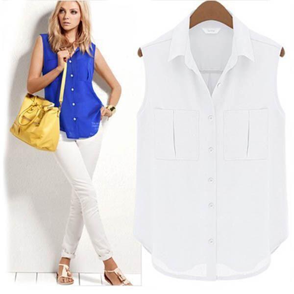 2015 Yeni Kadın Lady Yaz Şifon Yelek V Yaka Kolsuz Tops Bluz Gömlek Tee