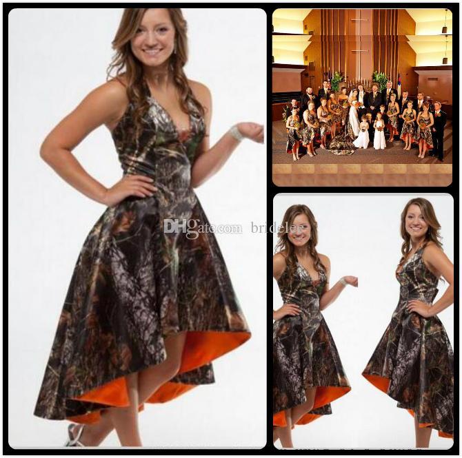 Orange Camo Bridesmaid Dresses 2020 Halter Hi Lo Camo ...