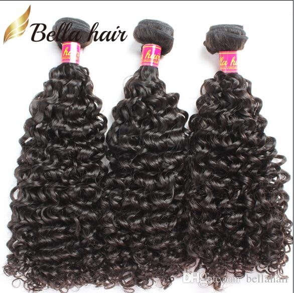 Bellahair Peruvian Human Virgin Hair Bundles Extensions Curly Human Hair Weaves Double Weft Cheap Natural Color 3PC