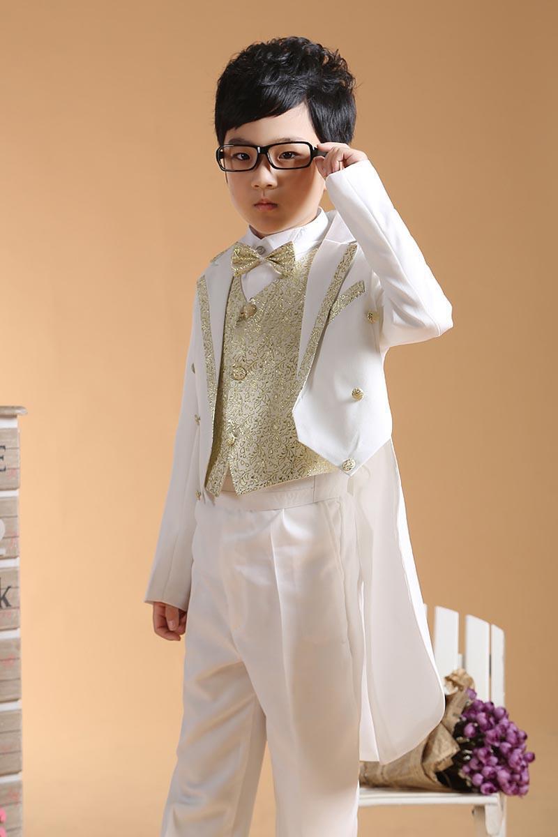 Boys Formal Ocasião Tuxedo 4pcs Suits = Casaco + Calça + Tie + Cinturão 2-13Y Crianças Ocasiões Especiais Outfits Evening Party