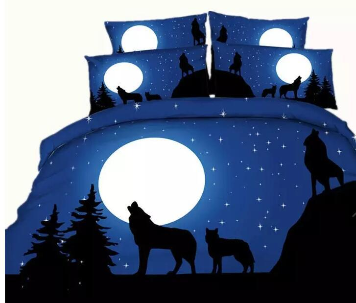 Animals, tigers, lions, wolves 3D Reactive Printing Bedding Sets 4pcs Quilt Duvet Cover Bed Sheet Pillowcase Comforter Sets