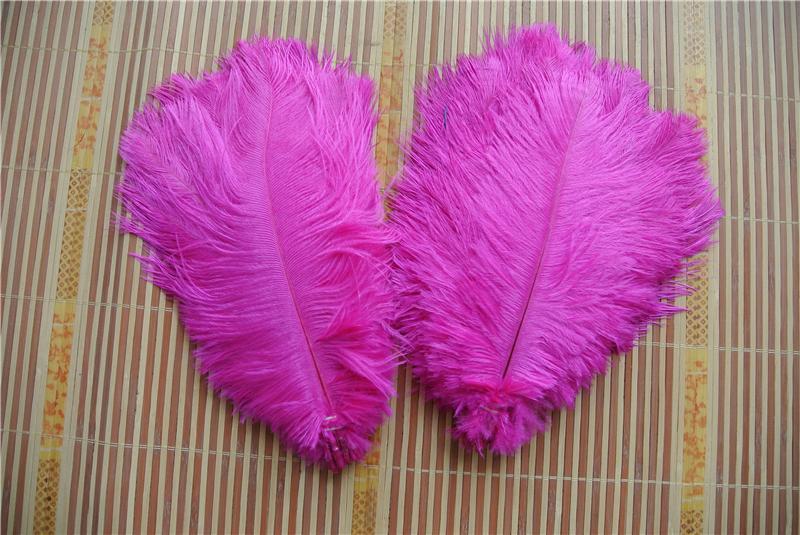 Оптовая продажа 100 шт. 5-8 дюймов ярко-розовый страусиное перо шлейфы для свадьбы центральным Рождество перо декор свадебный декор ремесла свадьбы