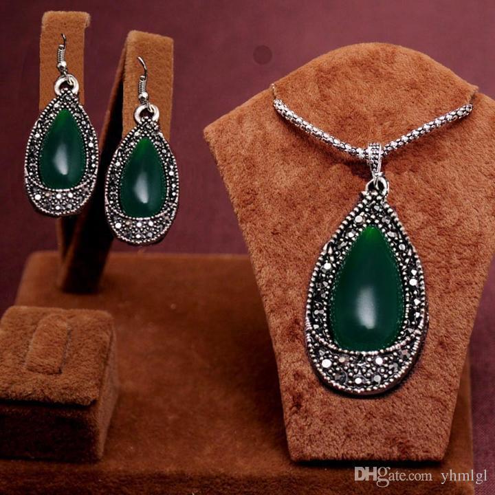 2014 новое прибытие модные античное серебро зеленый капли воды бусины дизайн ожерелье+ серьги комплект ювелирных изделий женщины