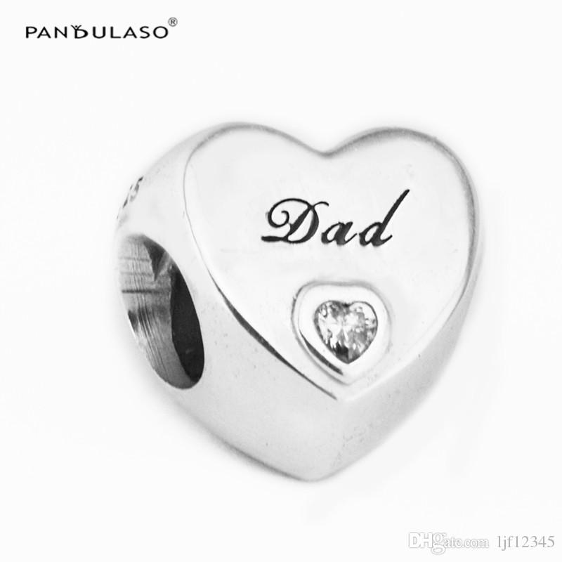 Dads Love Charm Clear CZ Sterling Silver Heart-Shaped Charms