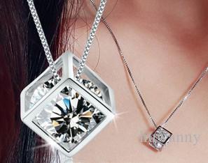Горячие продажи серебряные ожерелья Подвески ожерелье кулон кристалл для ювелирных изделий девушки женщин партия подарков моды Оптовая Бесплатная доставка 0118WH