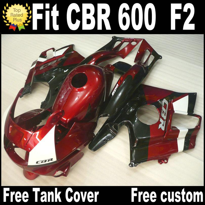 Free 7 Gifts for HONDA CBR 600 F2 custom fairings 1991 1992 1993 1994 black red CBR600 91 - 94 fairing kit RP7