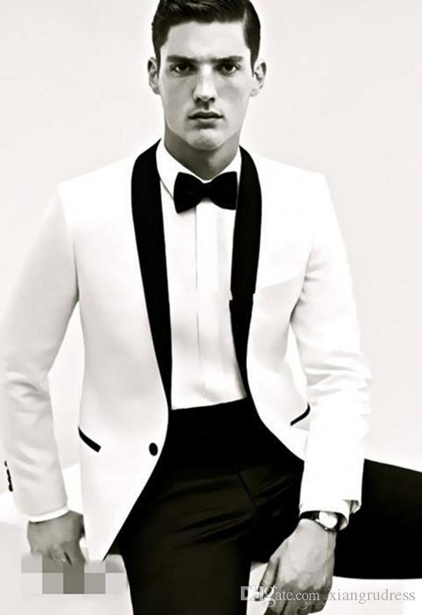 Custom Made Slim Fit Männer Anzüge Spitze Revers Bräutigam Smoking weiße Jacke und schwarze Hose Männer 2018 Trauzeugen Anzüge einen Knopf Herren (Jacke + Hose)