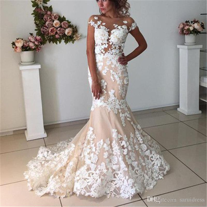 Ivory Lace Appliques Champagne Mermaid Wedding Dresses Open Back