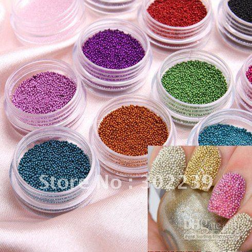 caviar nail 12 Color Nail Art Acrylic Steel Ball Manicure Decoration Tips,Free Shipping HB4510