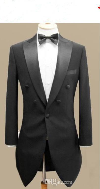 Custom made men suit,black swallow-tailed coat mens wedding suit,mens tuxedos(Jacket+pants+tie+pocke
