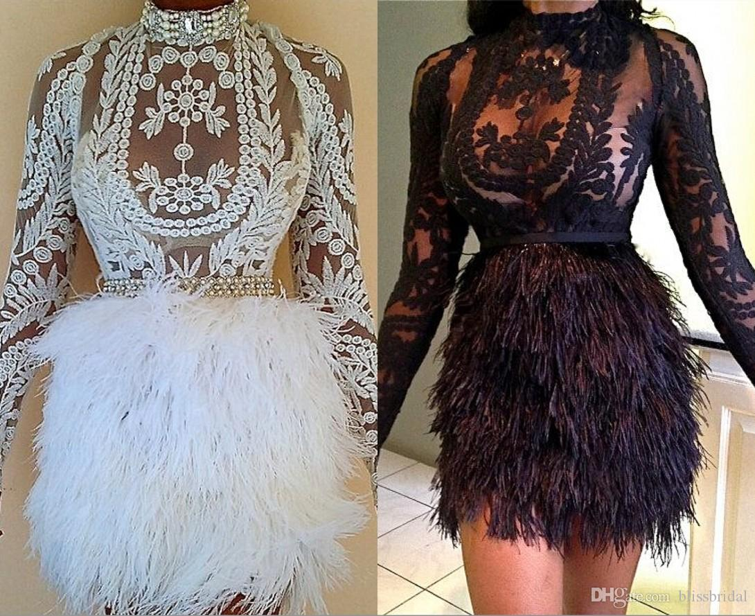 High Neck Long Sleeves Sheer Prom Dresses Sexy Feathers Short Mini Party Gowns Illusion Fashion Women Dresses