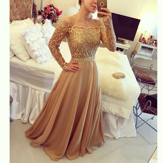 2016 Nuovi abiti da sera in pizzo arabo Golden Globe Off spalla manica lunga in chiffon Una linea Prom Dress abiti da sera Zuhair Murad Robe BO7984