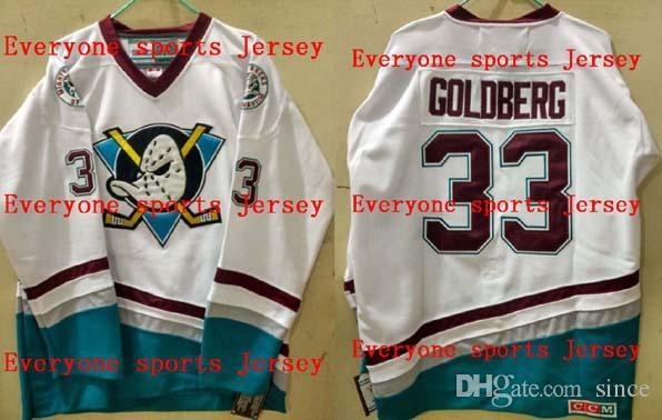 Hot Sale Mens 33 Greg Goldberg Mighty Ducks Movie D-5 Anaheim White or Custom any player for any name Embroidery Ice Hockey Jerseys