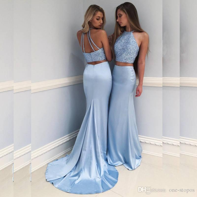 Two Piece Mermaid Light Blue Prom Dresses Sequined Chinese Halter Satin Formal Evening Party Gowns vestidos de fiesta 2018