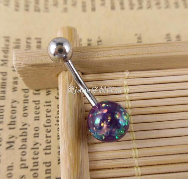 Imitation opal surgical stainless steel fashion women's belly button rings navel piercings for women girl bell bar body jewelry