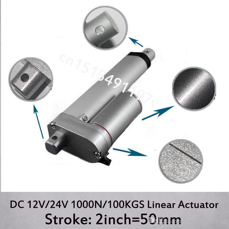 Atuador linear elétrico da CC 12V / 24V 2inch / 50mm mini, carga 1000N / 100kgs Atuadores lineares da velocidade 10mm / s sem suportes de montagem