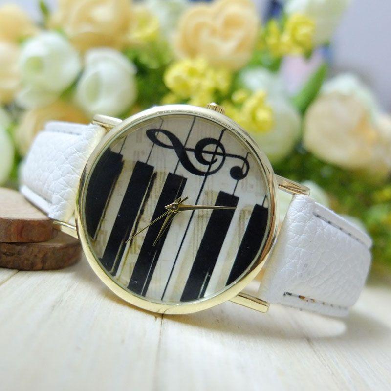 Al por mayor-moda mujeres Ginebra hombres analógico teclado de piano de cuarzo nota musical reloj reloj de señora vestido de ornamento