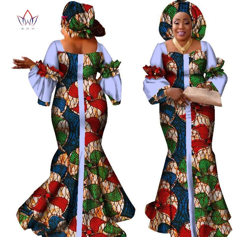 african dresses for women fashion design new african bazin fashion design dress long dress with scarf african clothes WY2347