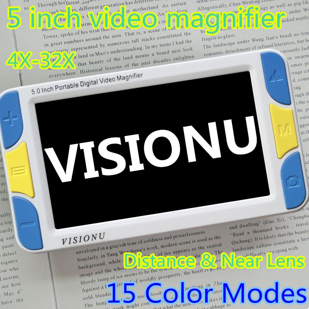 Freeshipping Low Vision 5 inch LCD Pocket Video Magnifier Reading Aid,Video Digital Magnifier Portable Handheld electronic microscope