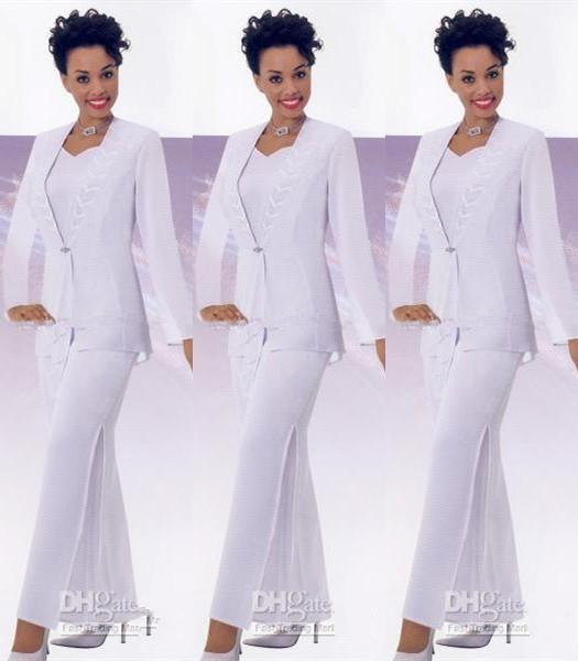 White Suits Three Pieces Mother Of The Bride Pant Suit With Jackets Long  Sleeve Chiffon Women Formal Wear Plus Size 2016 Cheap Police Officer Mom  The ...