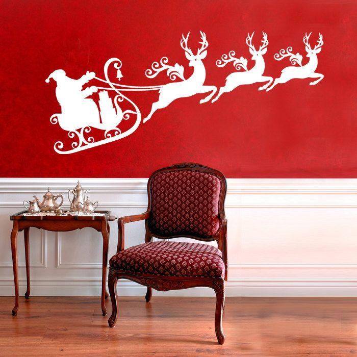 Santa Merry Christmas Sleigh Reindeer window mirror wall decal sticker art