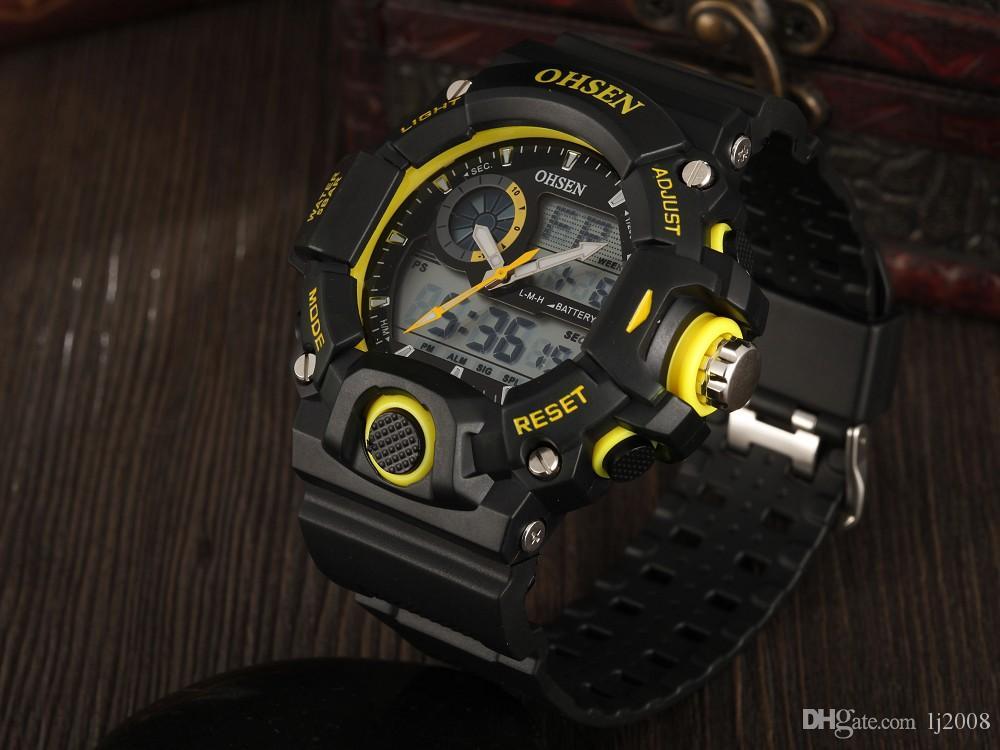 hediye için kol saati sarı kadran klasik moda tasarım 50M su geçirmez el saat Hombre Horloge Üst marka OHSEN dijital spor dalış izle