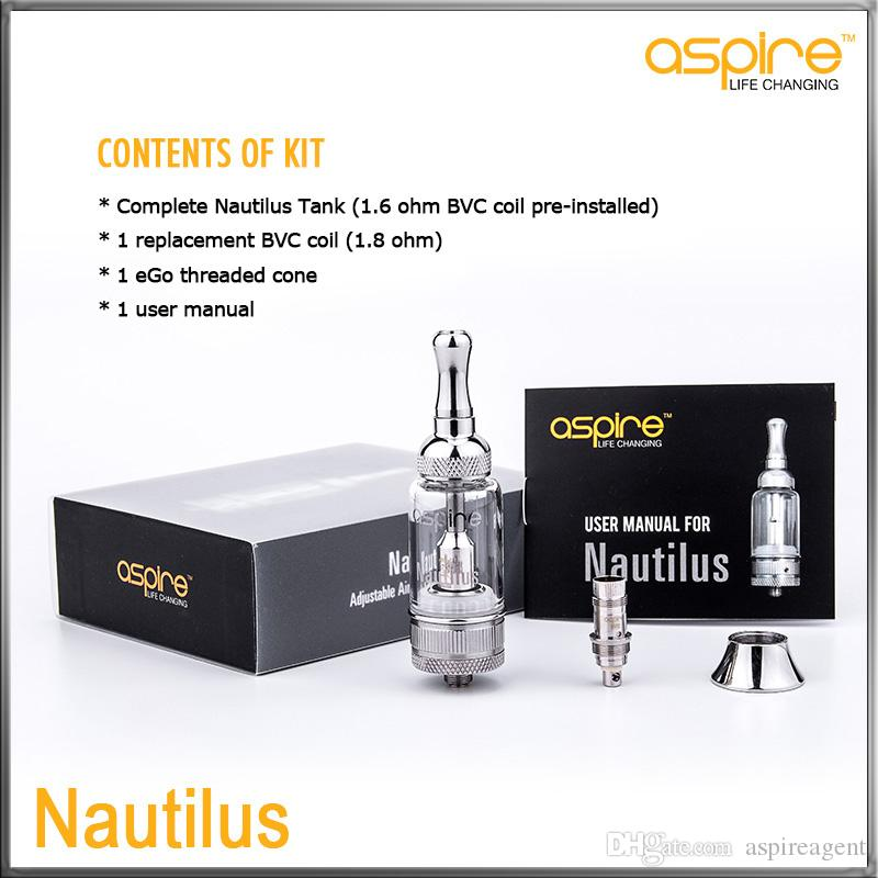 100% Original Geniune Aspire BVC Nautilus Tank Kit Ajustable Airflow Clearomizer 5.0mL Tank System BVC E Electronic Cigarettes Atomizer