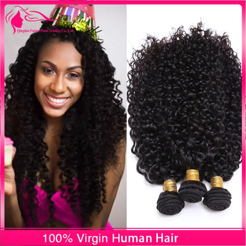Hot Sale 3Pcs Kinky Curly Virgin Human Hair Weaves Natural Color Brazilian Hair Bundles Afro Kinky Curly Hair Extensions For Black Woman