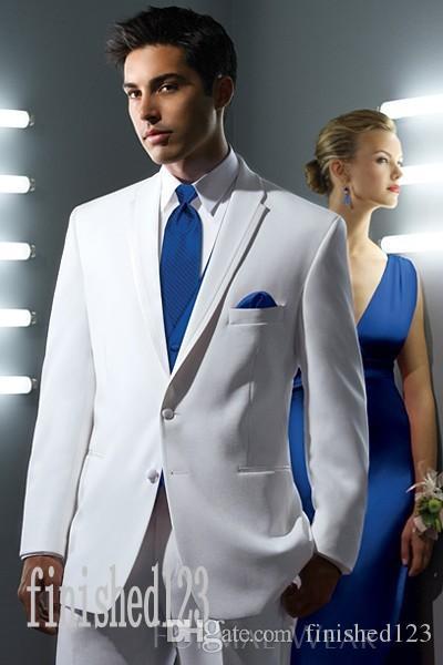세련된 두 버튼 하얀 신랑 턱시도 노치 옷깃 Groomsmen 최고의 남자 웨딩 댄스 파티 정장 (자켓 + 바지 + 조끼 + 넥타이) G5192