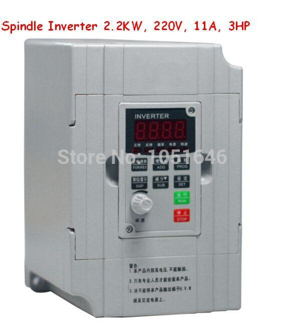 Free shipping, Spindle Inverter 2.2KW, 220V, 10A, 3HP,Frequency conversion, single 220V output 3-phase 220V 2.2KW converter