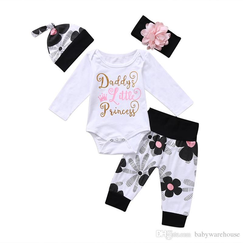 2018 Newborn Baby Girl Clothes Outfit Daddy's Little Princess Printing Romper Jumpsuit + Long Pants + Hat + Headband 4PCS Boutique Girls Set