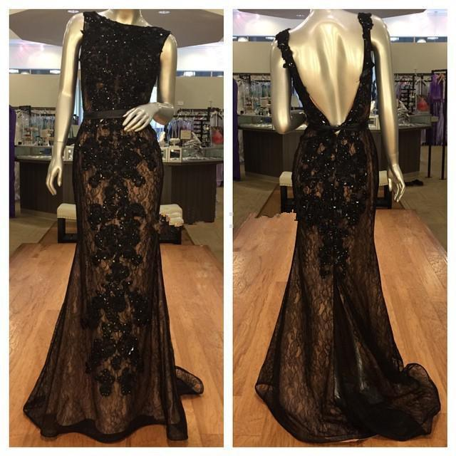 2019 New Black Lace Long Evening Dresses Scoop Neckline Sleevelsss Sweep Train Beaded Sequined Mermaid Backless Formal Gowns Custom Made E56