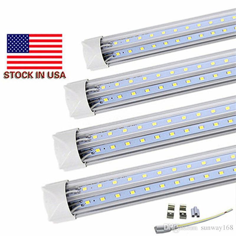 통합 T8 형광 램프 차가운 흰색 따뜻한 화이트 색상 8 피트 LED 튜브 라이트 V 모양 LED 조명기구 AC85-265V