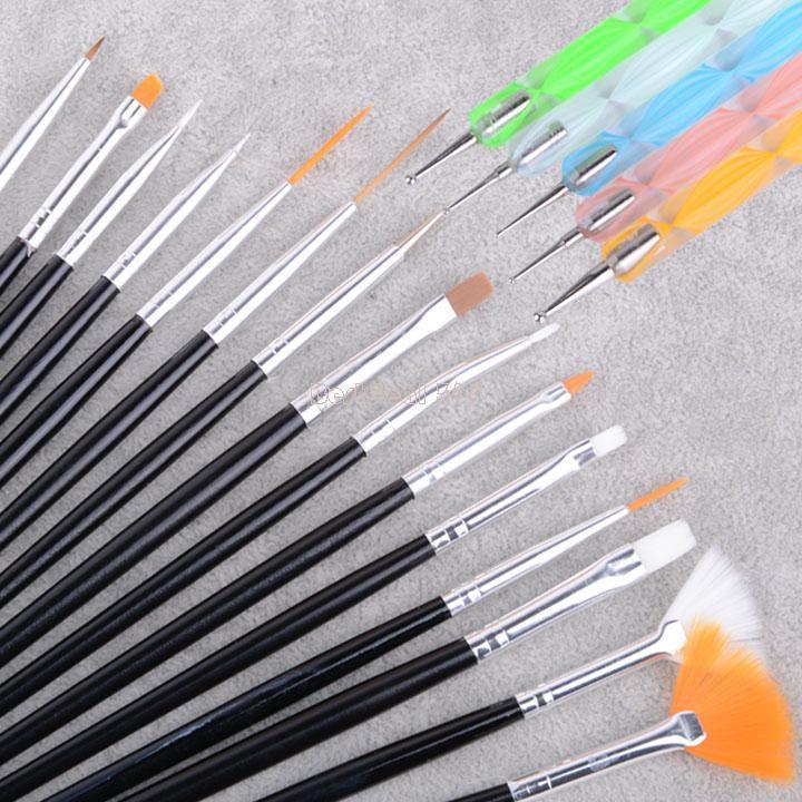 جديد جدا! 2014 الأبيض 20 قطع المهنية مسمار الفن فرشاة مجموعة تصميم لوحة القلم أدوات مثالية ل SV002093 b4 الطبيعي