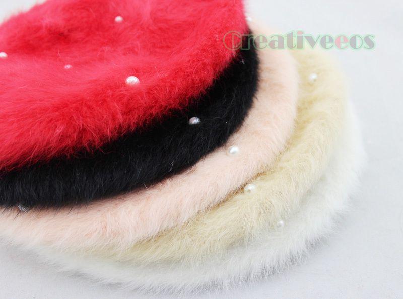 Wholesale-Stylish Fashion Women Winter Warm  Fur Snow Beanie SKI Hat Cap Beret Angora Pearl New